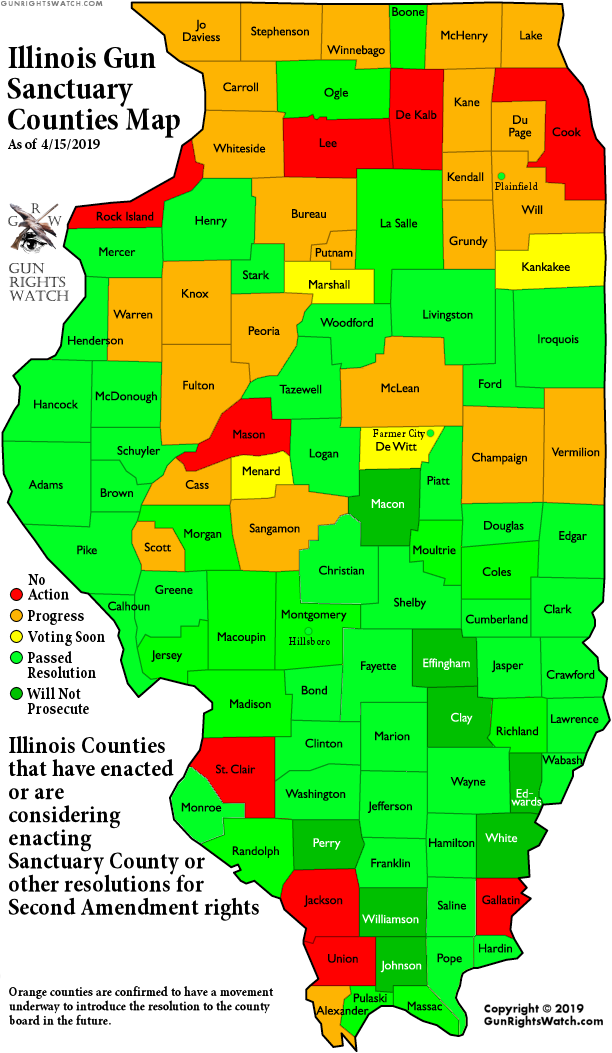Over half of Illinois' counties declare themselves
