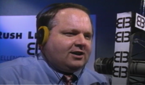 Rush Limbaugh tv show at mic