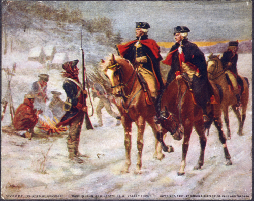 Washington_and_Lafayette_at_Valley_Forge by John Ward Dunsmore public domain per LoC